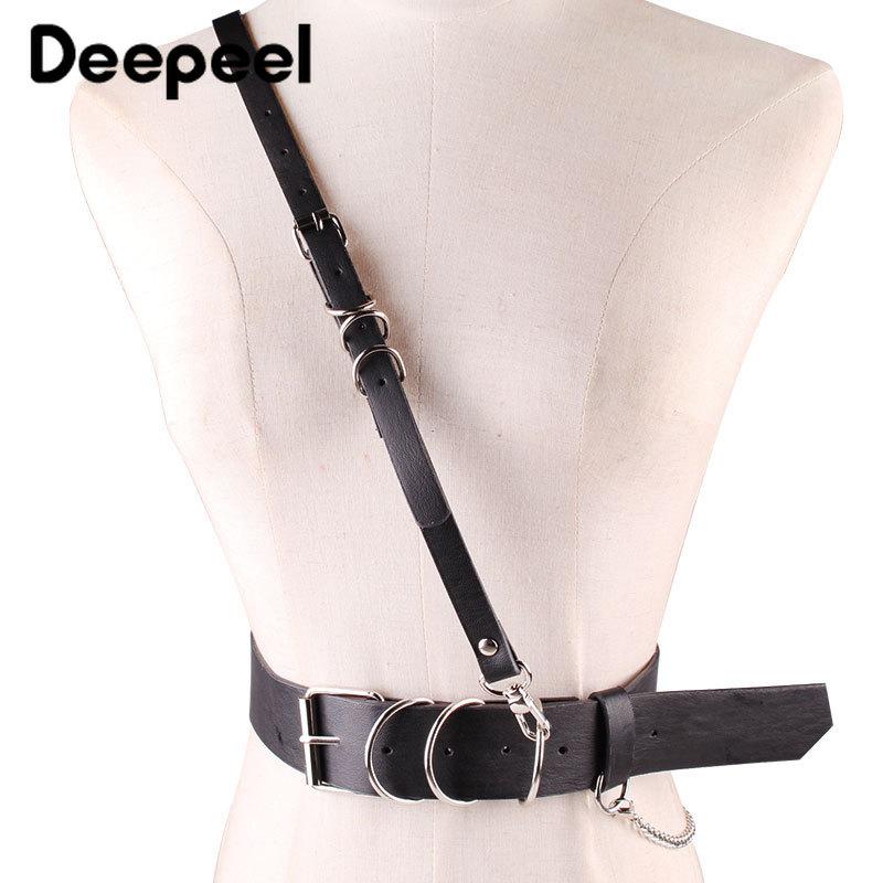 Deepeel 1pc 4cm*93cm New Womens Wide Cummerbund Shoulder Strap Decorative Retro Waistband Goth Leather Accessories Belt YK756