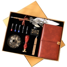 Wax-Set Dip-Pen with Ink-Bag Extraction-Tube-Pen Feather-Notebook Fire-Paint-Seal Stationery