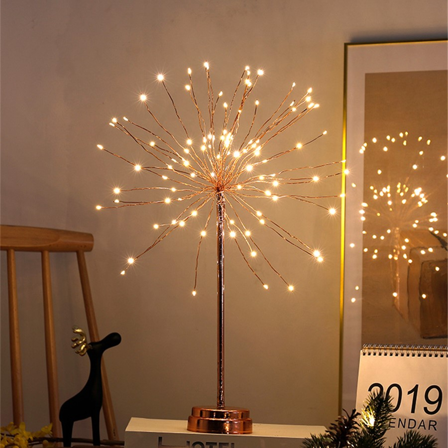 Twinkle Firework LED Table Lamp Battery Powered Night Light Decoration For Bedroom Desk Table Wedding Party Xmas Remote Control