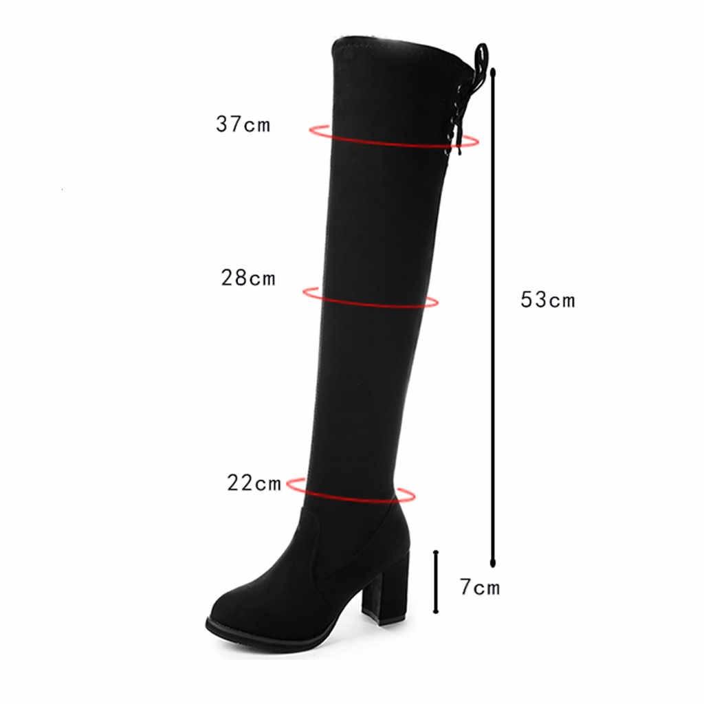 Overknee Laarzen Hoge Hak Dames Zwarte Laarzen Over de Knie Vrouwen Laarzen Grote Maten Botas Largas Mujer Invierno 2019 # G3