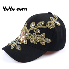 YOYOCORN Baseball Cap With Flower Canvas Snapback Caps For Women Female Hat High Quality Rhinestone Denim