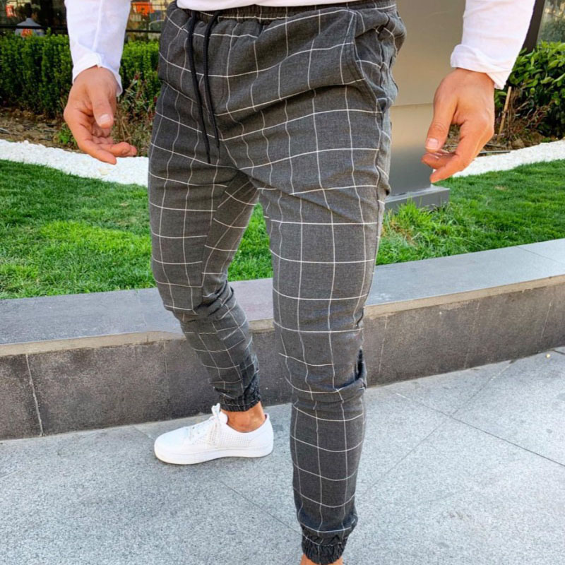 Men Casual Skinny Jogging Joggers Slim Fit Tracksuit Sport Sweat Plaid Pants Trousers AIC88