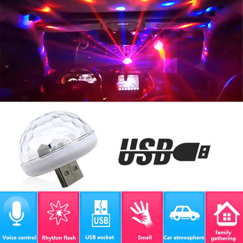 цена на Car LED Decorative Lamp Mini RGB Atmosphere Light Auto Interior LED USB Club Disco Magic Stage Effect Lights Car Styling For Car