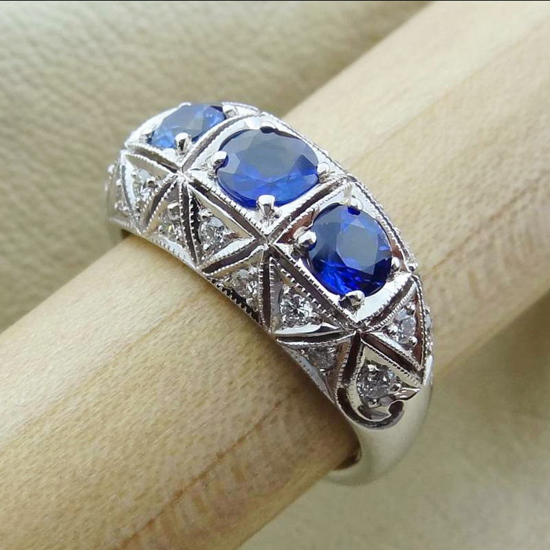 Huitan Special Round Cut Blue CZ 4-Prong-Setting Fashion Cocktail Party Rings for Women Size 6-10 wholesale lots bulk(China)
