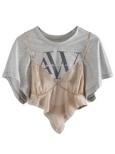 VGH T-Shirt Women Short-Sleeve Lace-Up Asymmetrical Irregular Patchwork O-Neck Print