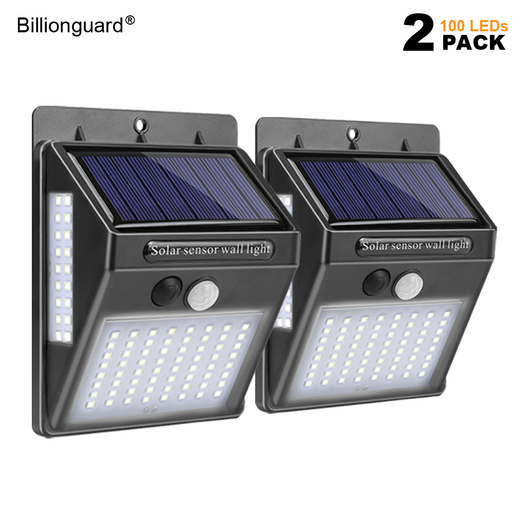 2 Pack 100 LED Solar Lights Outdoor Led Solar Lamp PIR Motion Sensor Light IP65 Waterproof Security Lights For Front Door Garden