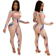 U Vrouwen Sexy Bodycon Jumpsuits Multicolor Blok Cross Line Print O-hals Slanke Lange Potlood Broek Party Club Gewelfde Lady Romper(China)