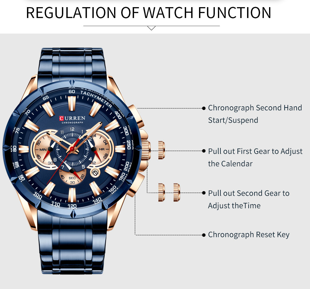 Ha603db4b66c74d90835e44ddf4adf143O CURREN Wrist Watch Men Waterproof Chronograph Military Army Stainless Steel Male Clock Top Brand Luxury Man Sport Watches 8363