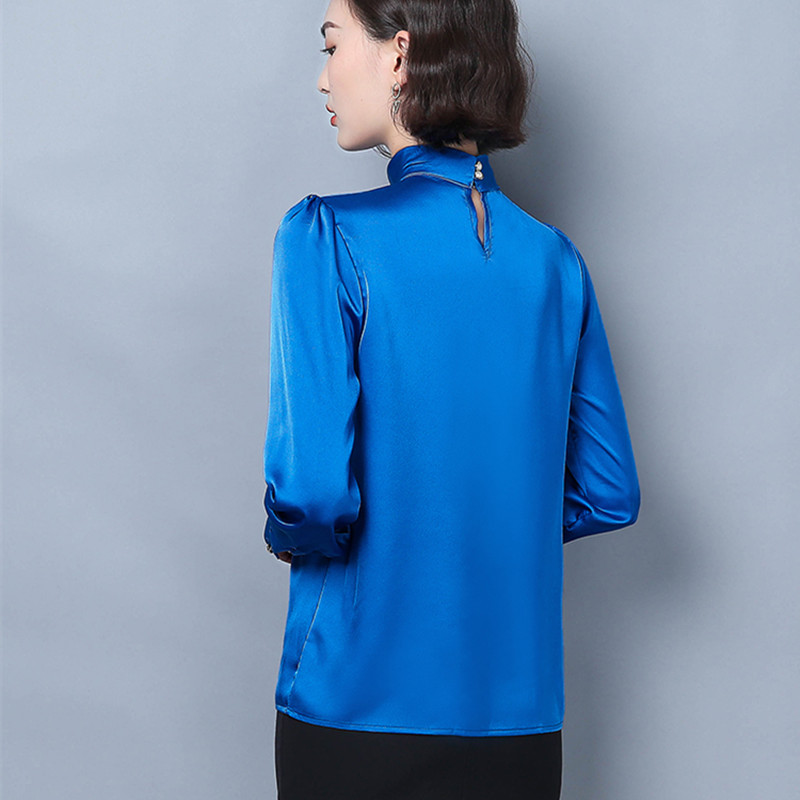 Korean Silk Women Shirts Elegant Women Long Sleeve Solid Blouse Shirt Plus Size Woman Satin Blouses Shirts Blusas Mujer De Moda