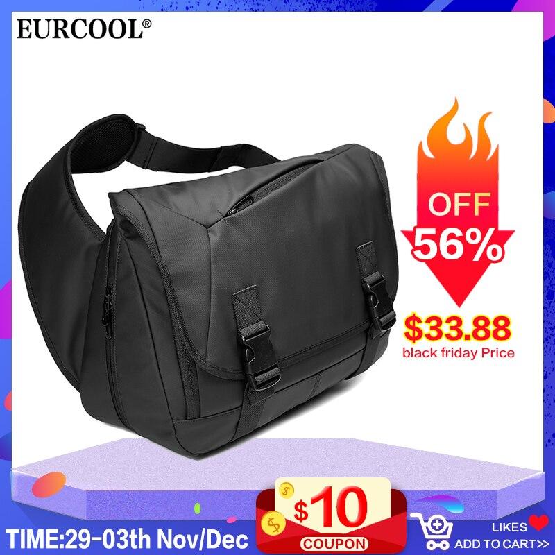 EURCOOL Expansion Large Capacity Messenger Bags For Men 14.6 Inch Laptop Shoulder Bag Black Casual Travel Chest Bags Male N1805
