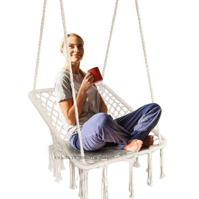 INS Style Hammock Swing, Macrame Hanging Cradle Indoor Outdoor, Boho Chairs For Bedroom