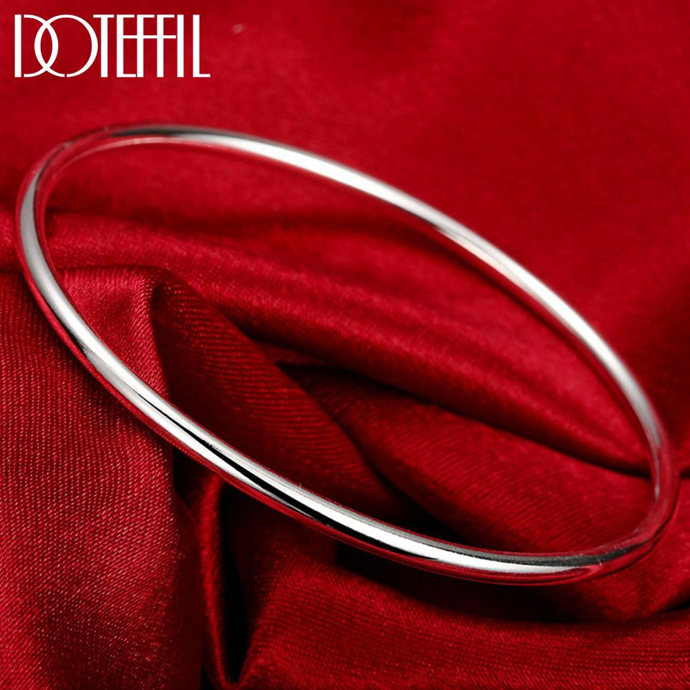 DOTEFFIL 925 Sterling Solid Silver Bracelet Fashion Personality Simple Smooth Bangles For Women Wedding Engagement Jewelry