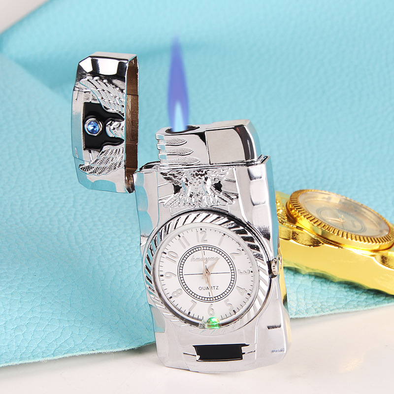Creative Metal Inflatable Watch Fire Lighter No Gas Straight-punch Watch Cigarette Lighter Refillable Butane Smoking First Aid