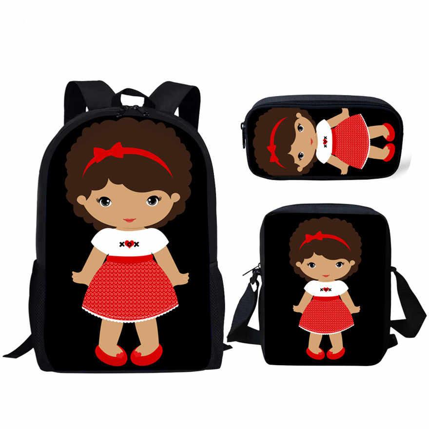 חדש שחור מלכת תינוק בובת תיקי בית ספר לילדים 3Pcs חמוד קטן אפריקאי אמריקאי ילדה בית ספר תיק סט ילדים תיק של המוצ 'ילה