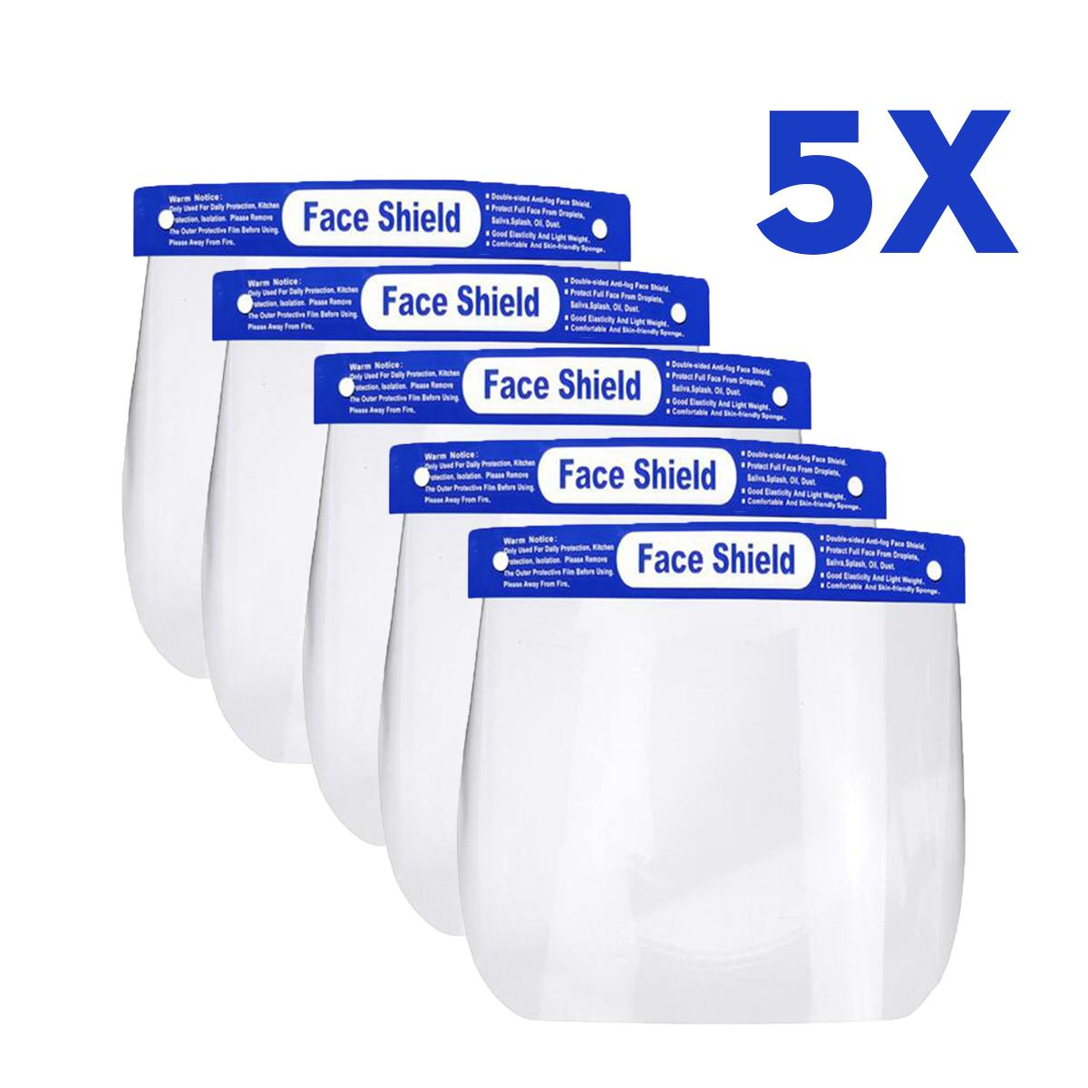 5PCS Transparent Anti Droplet Dust-proof Protect Full Face Covering Mask Safety Protection Visor Shield Stop The Flying Spit
