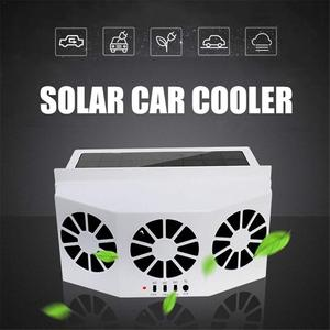 Solar Powered Car Cool Fan Cooler Air Vent Radiator Car Window Air Vent Cool System Triple Fan Cooler Auto Ventilation(China)