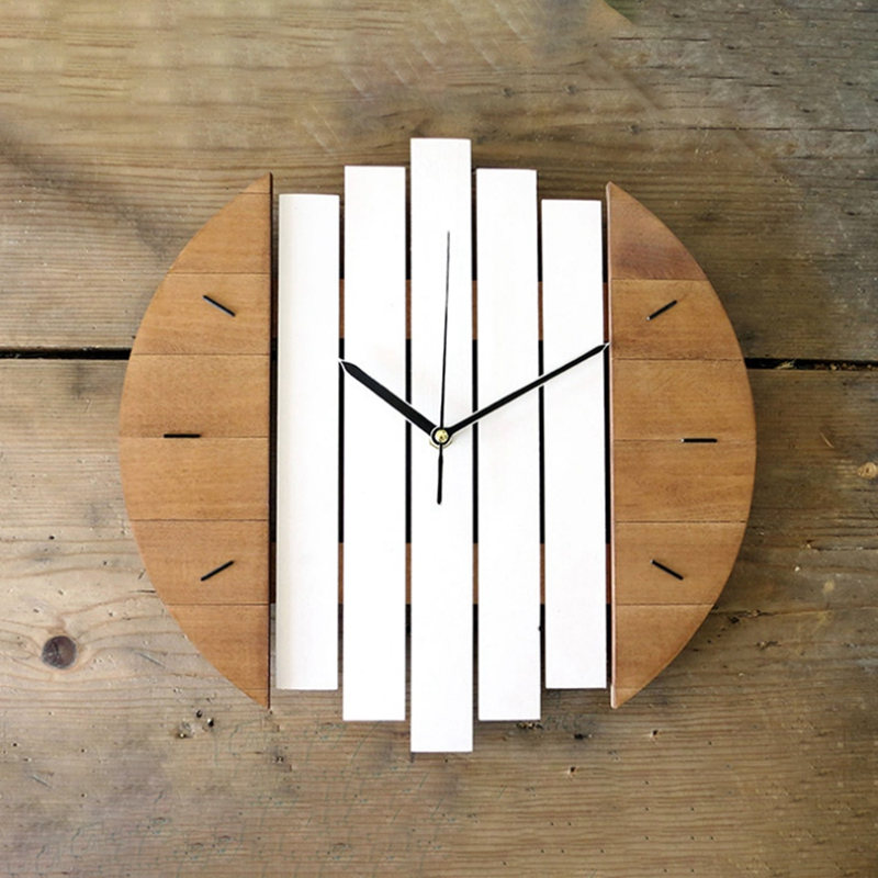 Xylophone Wooden Wall Clock Modern Design Vintage Rustic Shabby Clock Quiet Art Watch Home Decoration