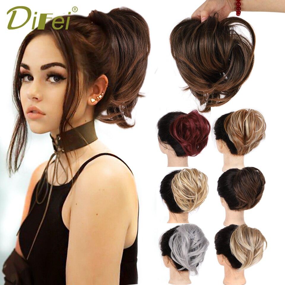 Прямая резинка DIFEI для девочек, шиньон с эластичной резинкой, кольцо из синтетических волос, черный и серый цвета, повязка на конский хвост, г...