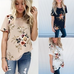 2019 Summer Casual Stylish Women Casual Floral Print Short Sleeve Chiffon Shirts O-Neck Tops Fashion S M L XL XXL XXXL! 5
