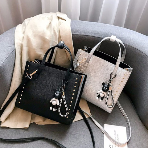 Couro do Plutônio Bolsa de Ombro Bolsa do Mensageiro Bolsas de Luxo Rebite Casual Moda Feminina Macio Bolsas Femininas Designer Alta Capacidade 2020