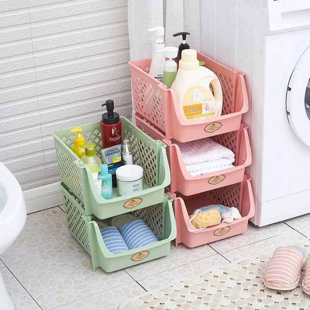 Single Layer Stackable ตะกร้าเก็บของเล่นพลาสติกกล่องคอนเทนเนอร์ห้องครัวขนมขบเคี้ยวผักตะกร้าห้องน้ำต่างๆชั้นวาง