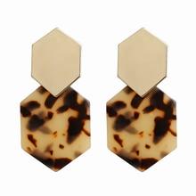 HOCOLE Fashion Acrylic Resin Dangle Earrings For Women Boho Geometric Tortoiseshell Acetate Drop Earring 2019 Brincos Jewelry