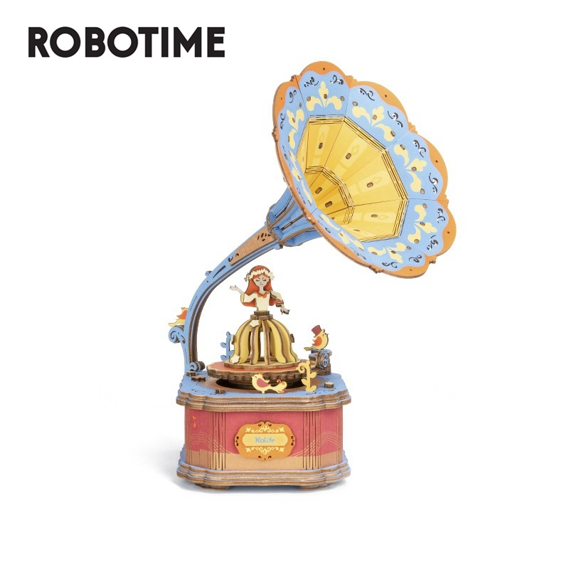 Robotime DIY Gramophone 3D Puzzle Game Assembly Moveable Music Box Toy Gift For Children Adult  AM43