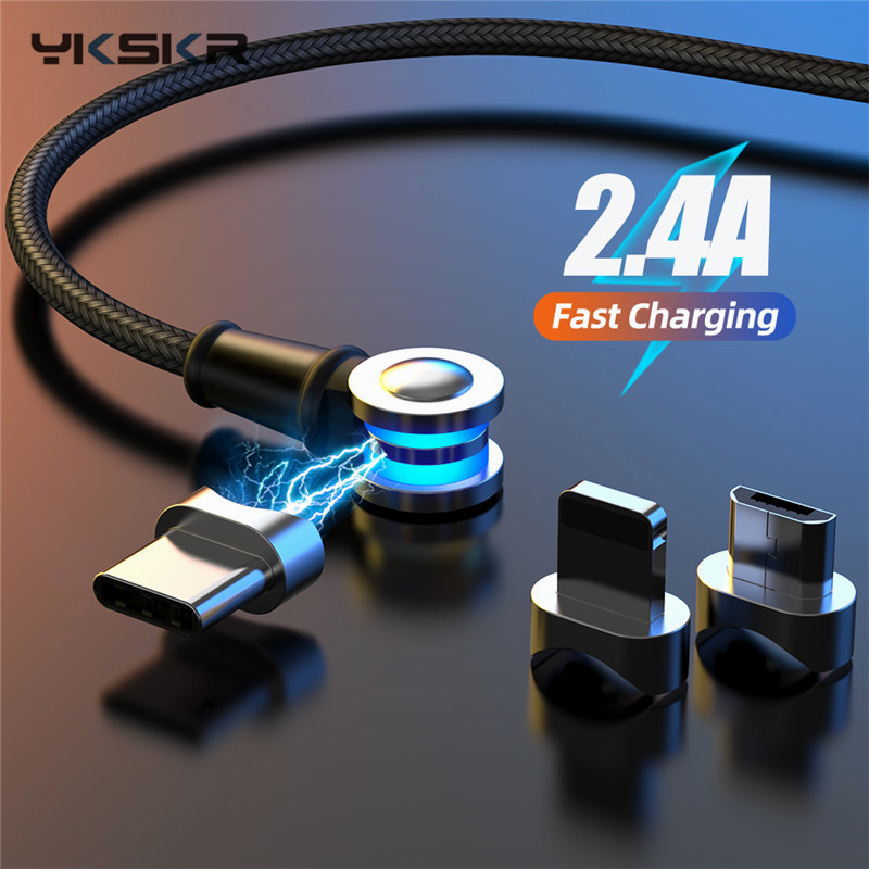 1M LED <font><b>3in1</b></font> <font><b>USB</b></font> Magnetic <font><b>Cable</b></font> 180 Degree Free Rotation Fast Charging For Type C Micro <font><b>USB</b></font> Charge Ports Mobile Phones Charger image
