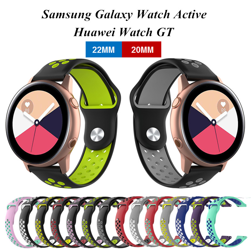 22MM 20MM Outdoor Rubber Sport Band Strap For Huawei Watch GT Silicone Watch Band Replacement For Samsung Galaxy Watch Active