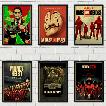 Spanish suspense movie La casa de papel retro style kraft paper poster banknote house wall wall art decoration poster a43 image