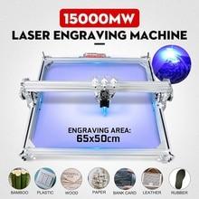 Máquina de grabado láser CNC de 15W / 3000mw 50x65cm para Metal/enrutador de madera/cortador DIY, cortadora de escritorio de 2 ejes + láser