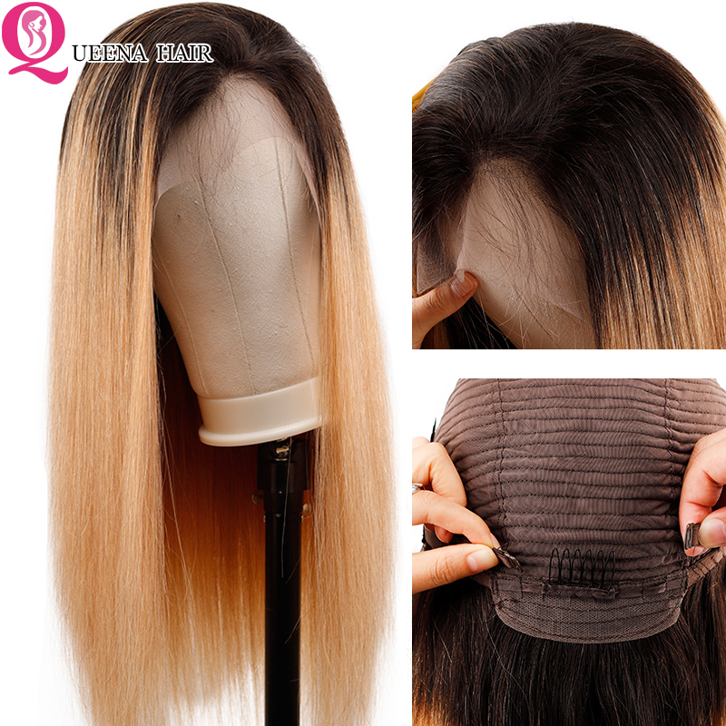 Ombre Blonde Straight Lace Front Wig Pre Plucked Raw Indian Short Colored 1B/27 Human Hair Wigs Glueless HD Lace Frontal Wig Rem