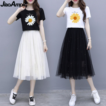 2021 Summer Korean Clothing Suit Women Fashion Daisy Print T-shirt Skirts Set Girls Student Leisure Joker Mesh Dress Wholesale 1