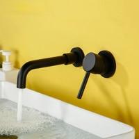 Negro con un asa agua fría caliente blanco de oro rosa juego de baño lavabo cuenca grifo de mezclador de baño montaje en pared latón Matt