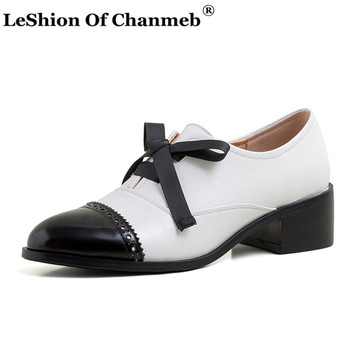 Classic Women Brogues Shoes Genuine Leather zapatos de mujer Woman Female Formal Shoes Sweet Bow-knot Footwear for Spring Autumn