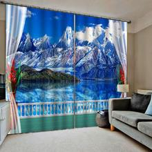 beautiful landscape curtains High quality custom 3d curtain fabric blue nature scenery