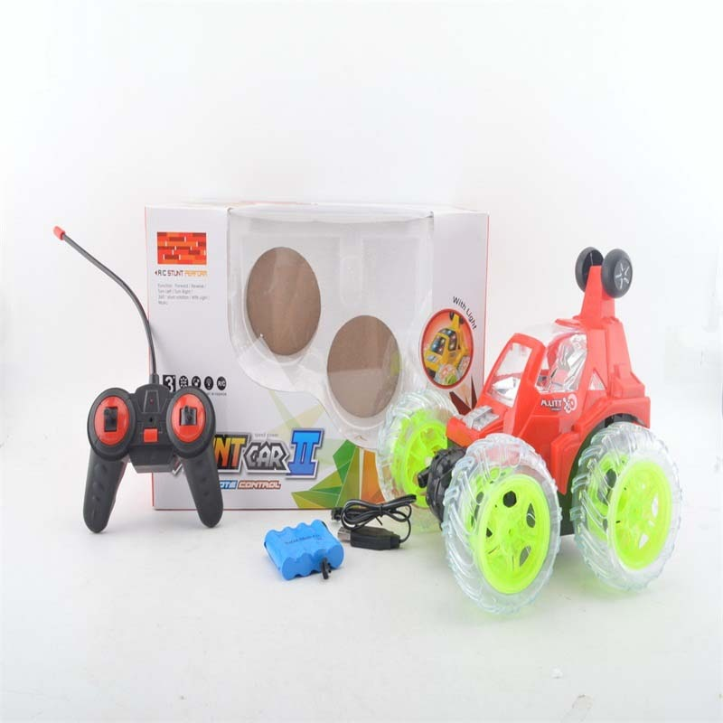 Four-Way Remote Control Dumpers CHILDREN'S Toy With Light And Music Large Size Tumbling Stunt Car Remote Control Toy Car