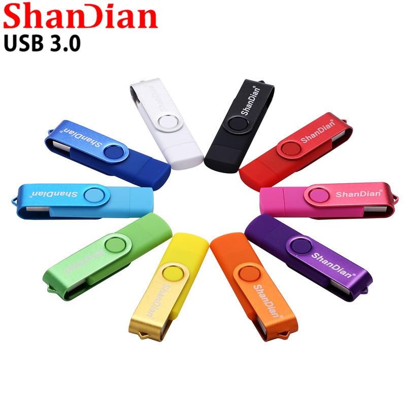 SHANDIAN unidad flash USB 3,0 OTG de alta velocidad 64 GB 32 GB 16 GB 8 GB 4 GB de almacenamiento externo doble aplicación Micro USB Stick