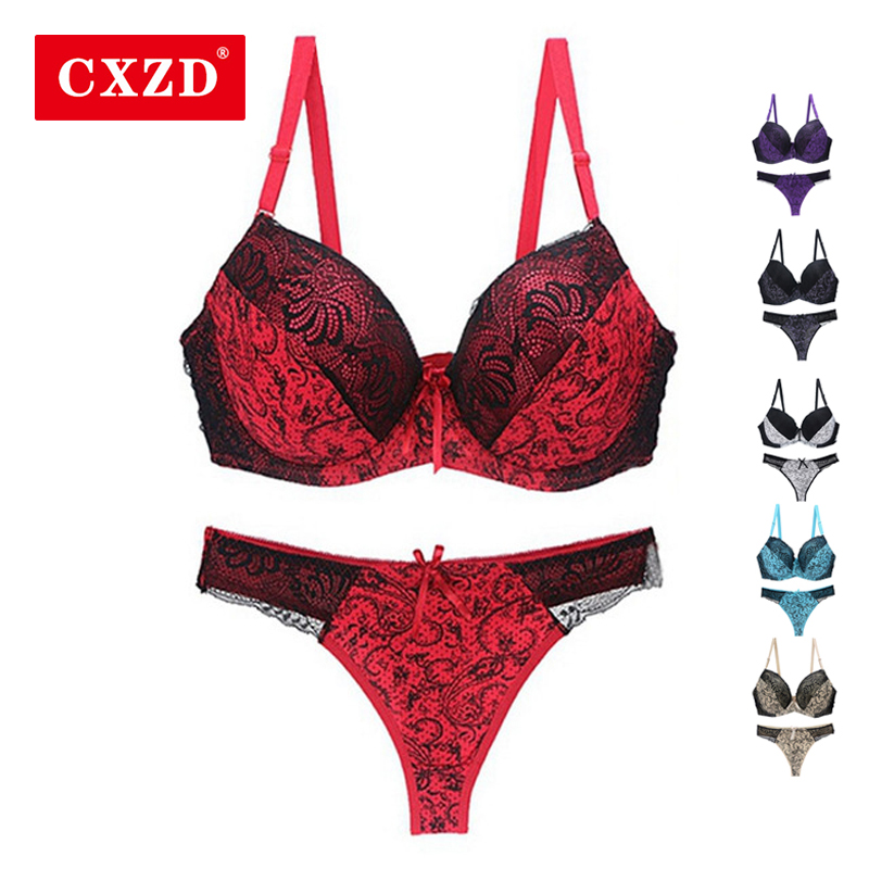 CXZD 2pcs/  sets   Push Up   Bra     Set   Slimgirl Women Health Big Size Lace Underwire   Bra   &   Brief     Sets   Sexy Lingerie Panty Female