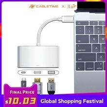 كابل USB C Hub إلى HDMI VGA 4K نوع C إلى HDMI USB 3.0 محول USB C محول لهواوي matebook X 13 ماك بوك برو air C207موزعات USB