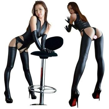 Conjunto de 3 Uds de Catsuit Sexy de cuero con cremallera frontal Lencería de cuero brillante para mujer con pantalones largos abiertos Bodycon y guantes