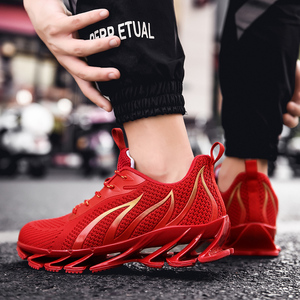 Image 5 - PULOMIES Men Spring Running Sports Shoes Lace up Fire Platform Sneakers Men Breathable Jogging Casual Shoes Large Size38 46