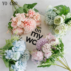 YO CHO A bunch of 7 hydrangea simulation flowers peony fake flower bride holding rose bouquet home decoration simulation flowers