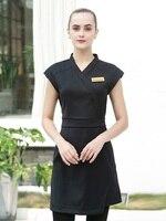 2020 mode Kosmetikerin Uniform Hohe Qualität Schönheit Salon SPA Arbeit Kleidung Schwarz SPA Kleid Hotel Guide Arbeit Kleid