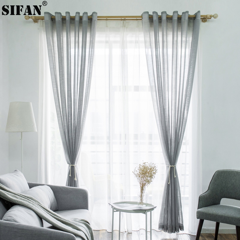 Solid Color Tulle Modern Curtains For Living Room Japanese Style Transparent Tulle Curtains For Living Room Kitchen Modern Voile