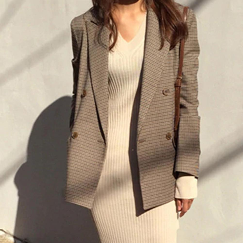 Vintage Women's Lapel Collar Long Sleeve Double-breasted Plaid Blazer Office Coat