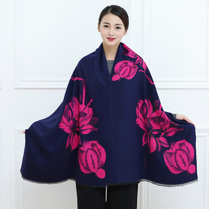 Image 3 - 2019 New Autumn Winter Warm Scarf For Women/Lady Soft Cashmere Pashmina Shawls Print Flower Two Side Cashmere Female Wraps Capes