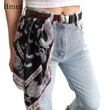 Autumn Winter Women Adjust Silk Scarf Long Belt Print Spliced Woman Waist Fashion Pu Leather Cummerbunds 2019 New