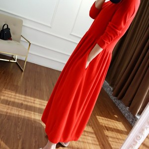 Image 2 - BELIARST 2019 autumn and winter new V neck cashmere dress female temperament long paragraph over the knee big dress long
