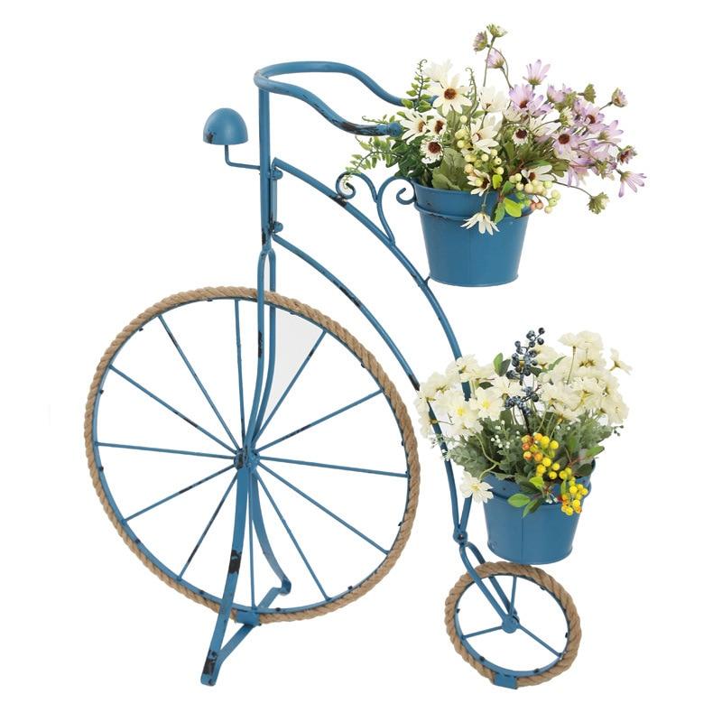 Rural Retro Creative Hemp Rope Iron Bicycle Styling Flower Stand Gardening Window Decoration Balcony Metal Plant Stand Indoor